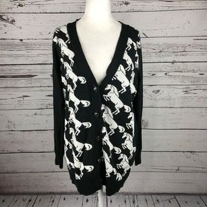 NWT The Limited Black White Horse Print Cardigan